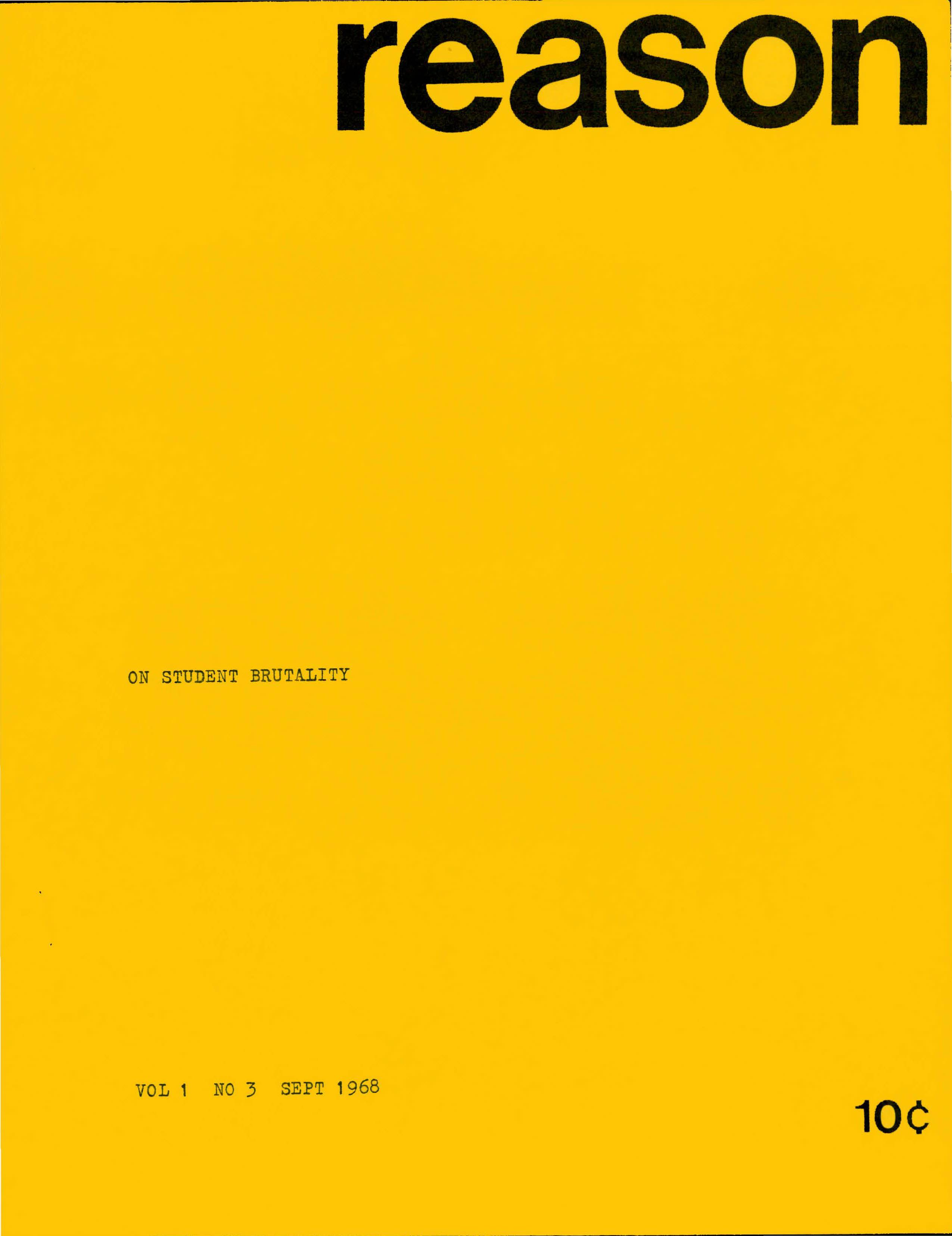 Reason Magazine, September 1968 cover image