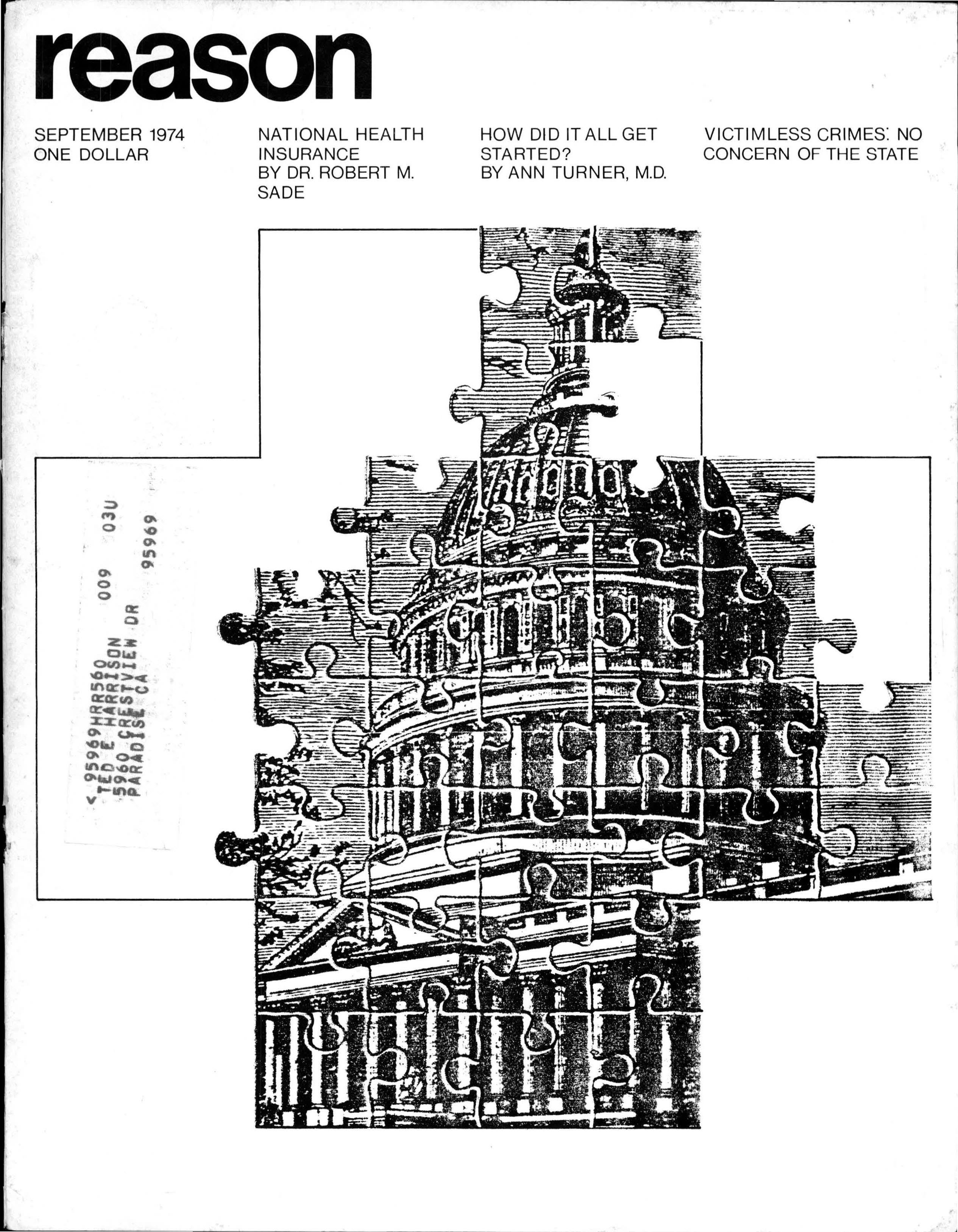 Reason Magazine, September 1974 cover image