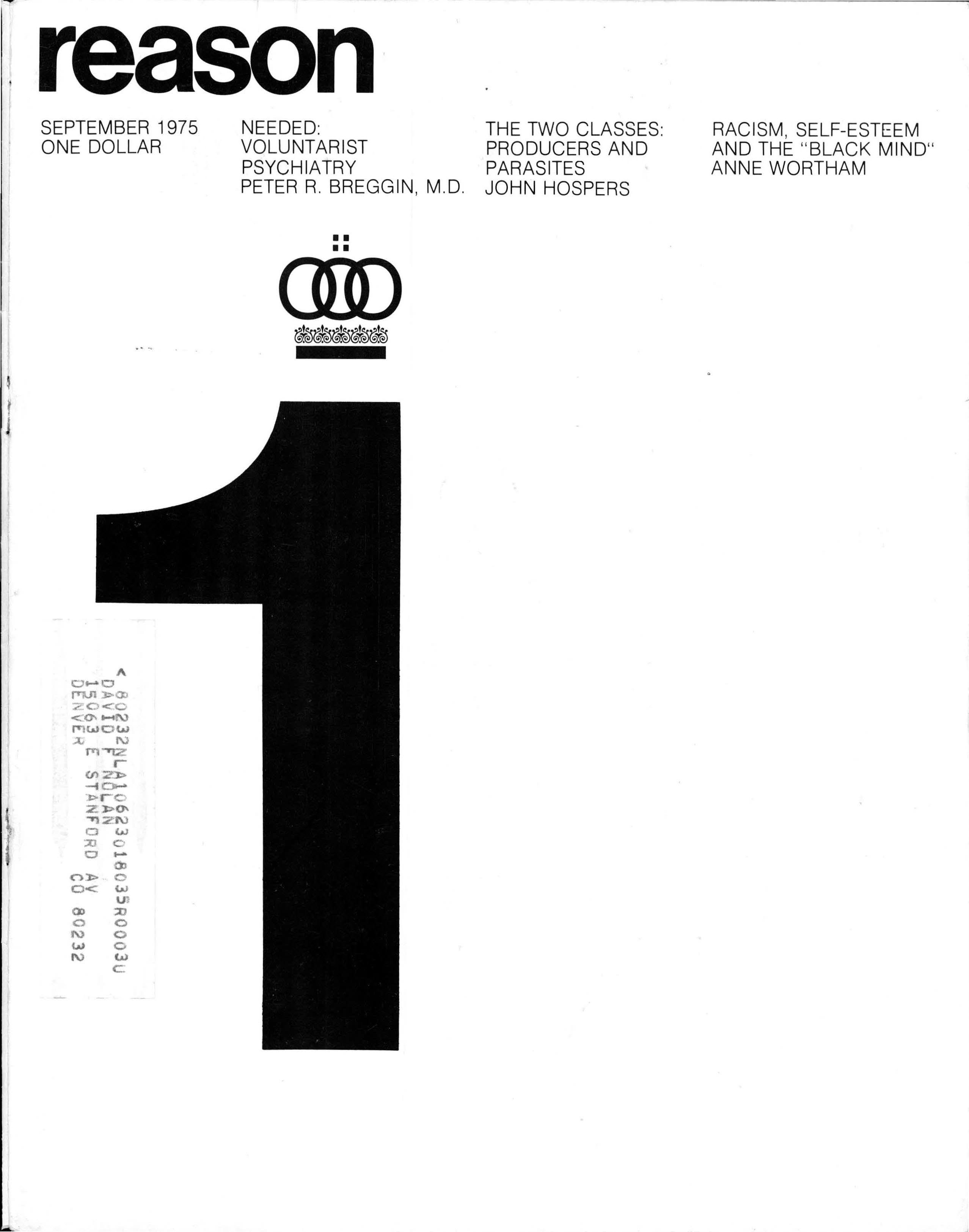 Reason Magazine, September 1975 cover image