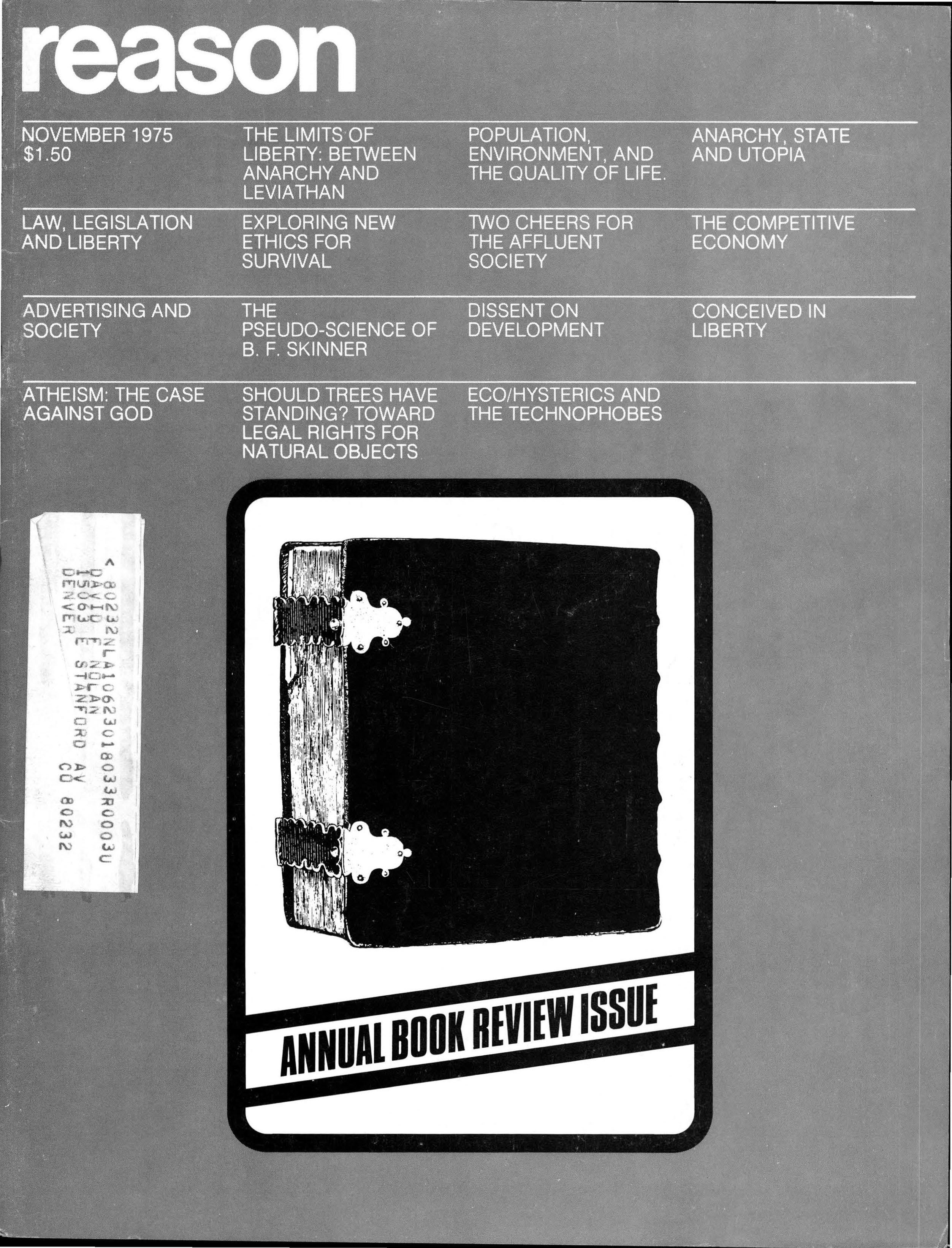 Reason Magazine, November 1975 cover image