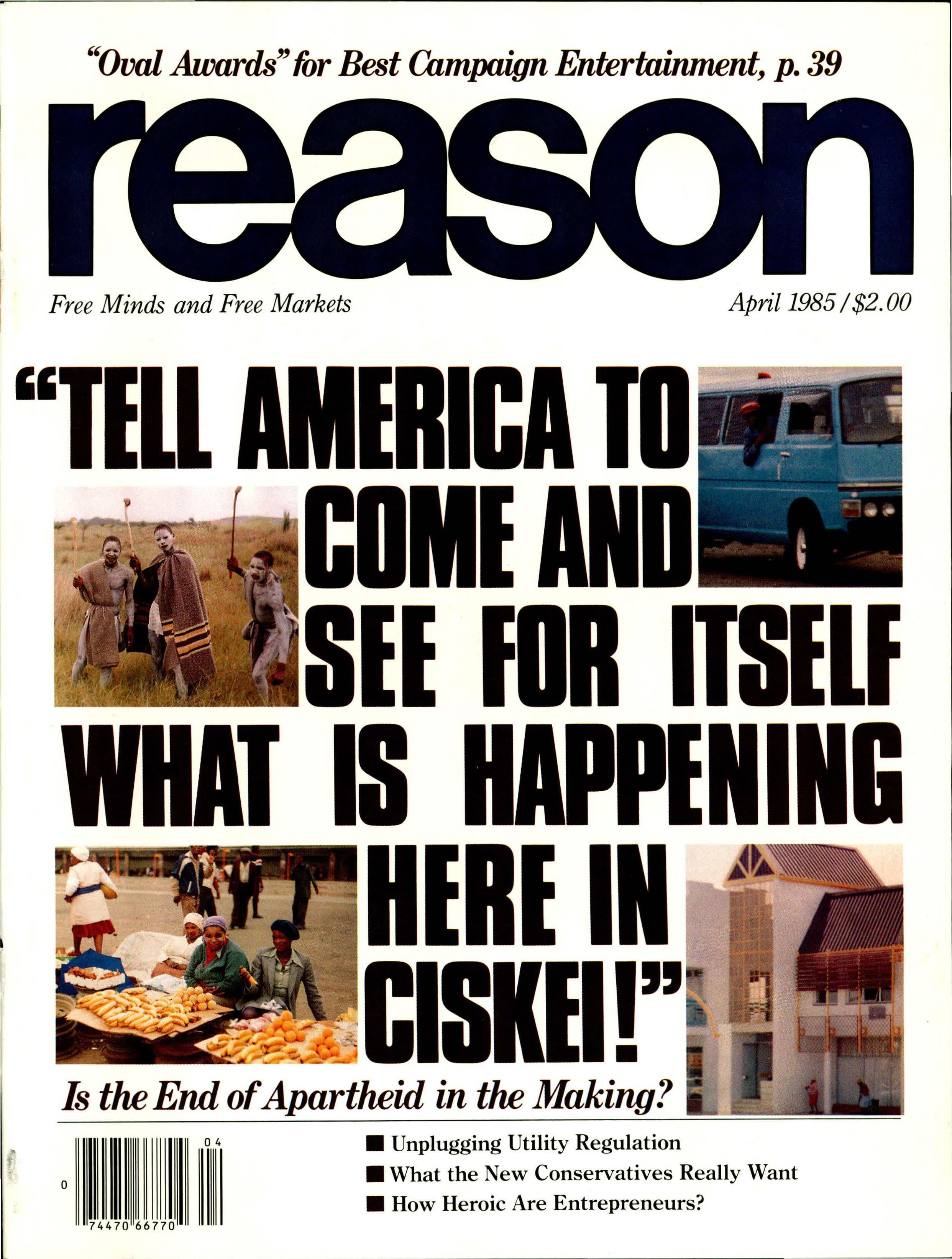 Reason Magazine, April 1985 cover image
