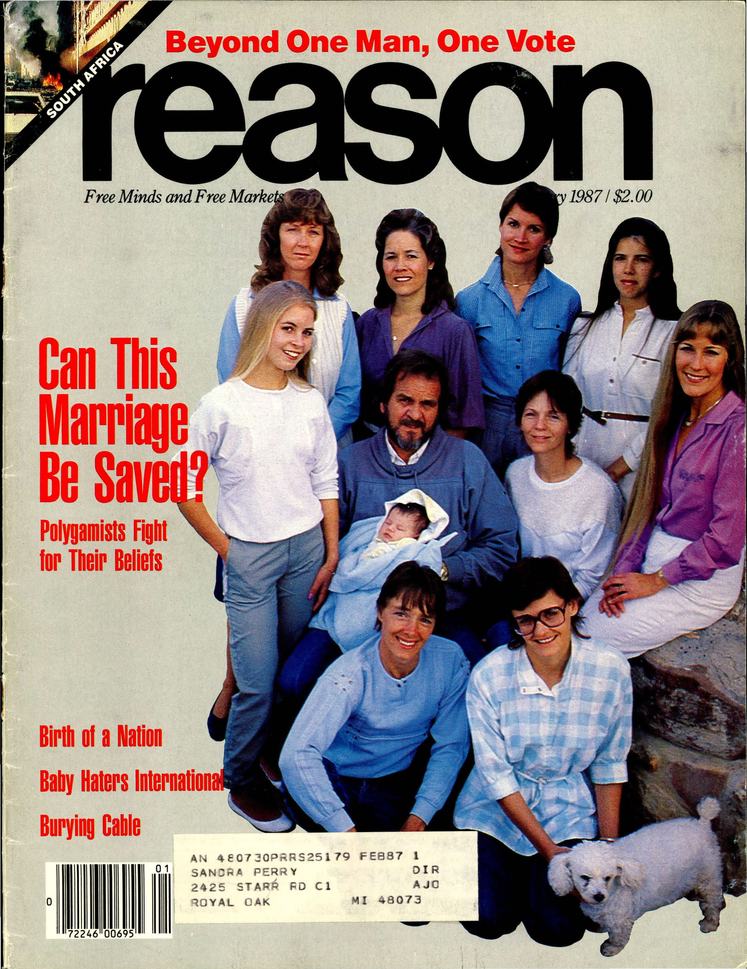 Reason Magazine, January 1987 cover image
