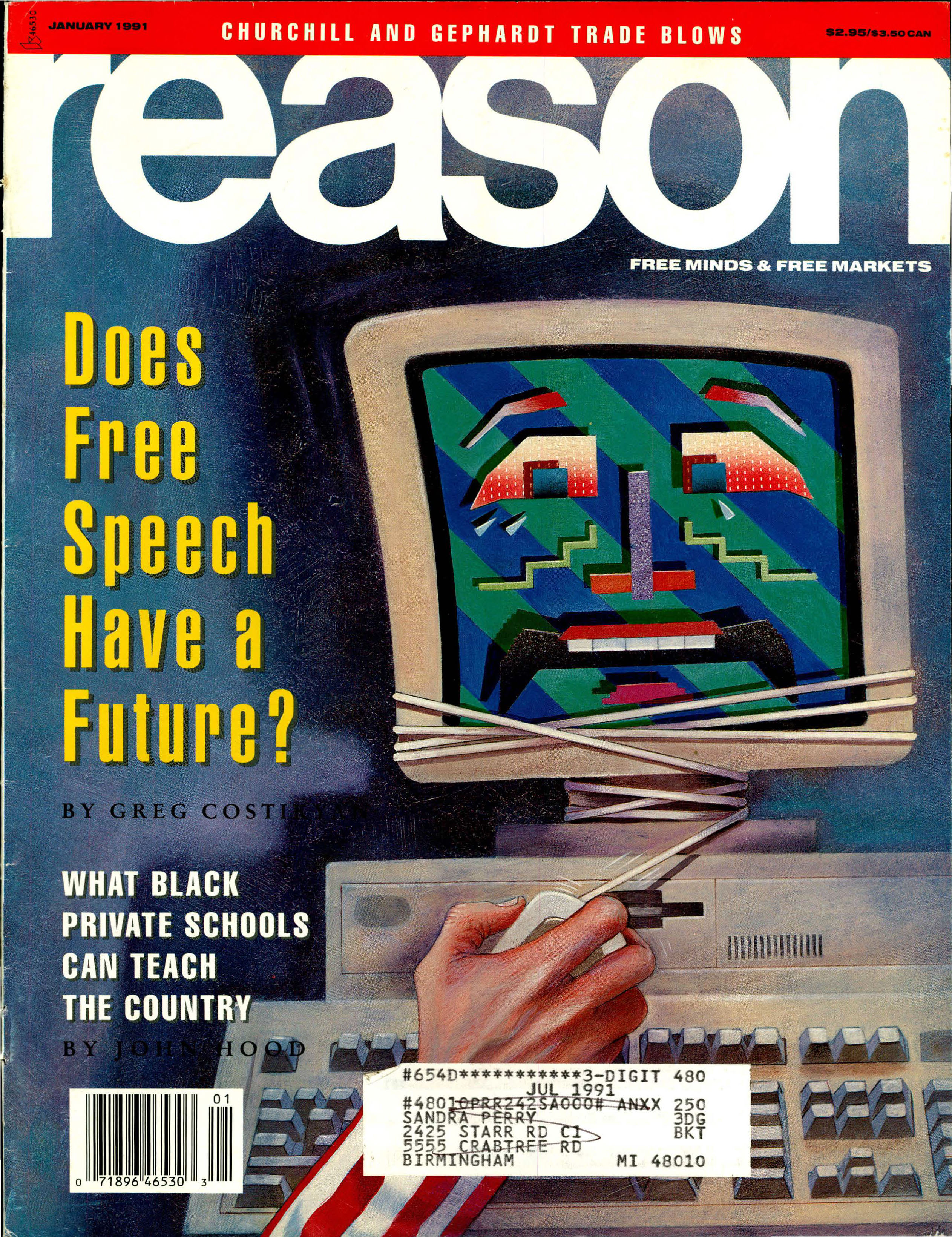 Reason Magazine, January 1991 cover image