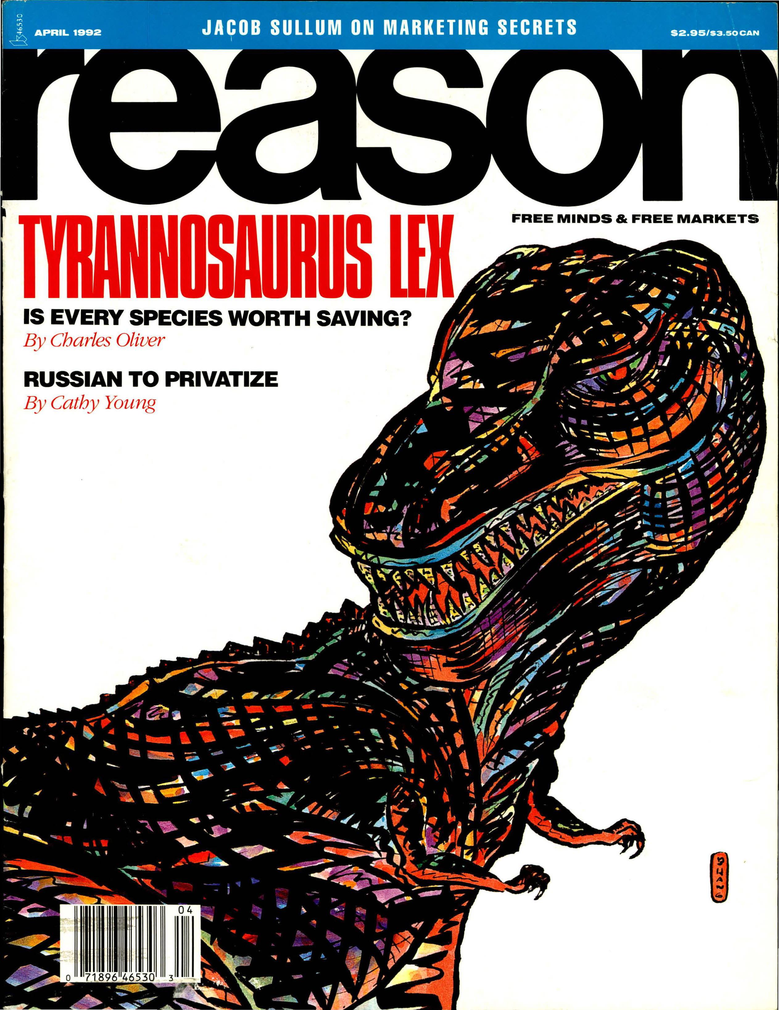 Reason Magazine, April 1992 cover image