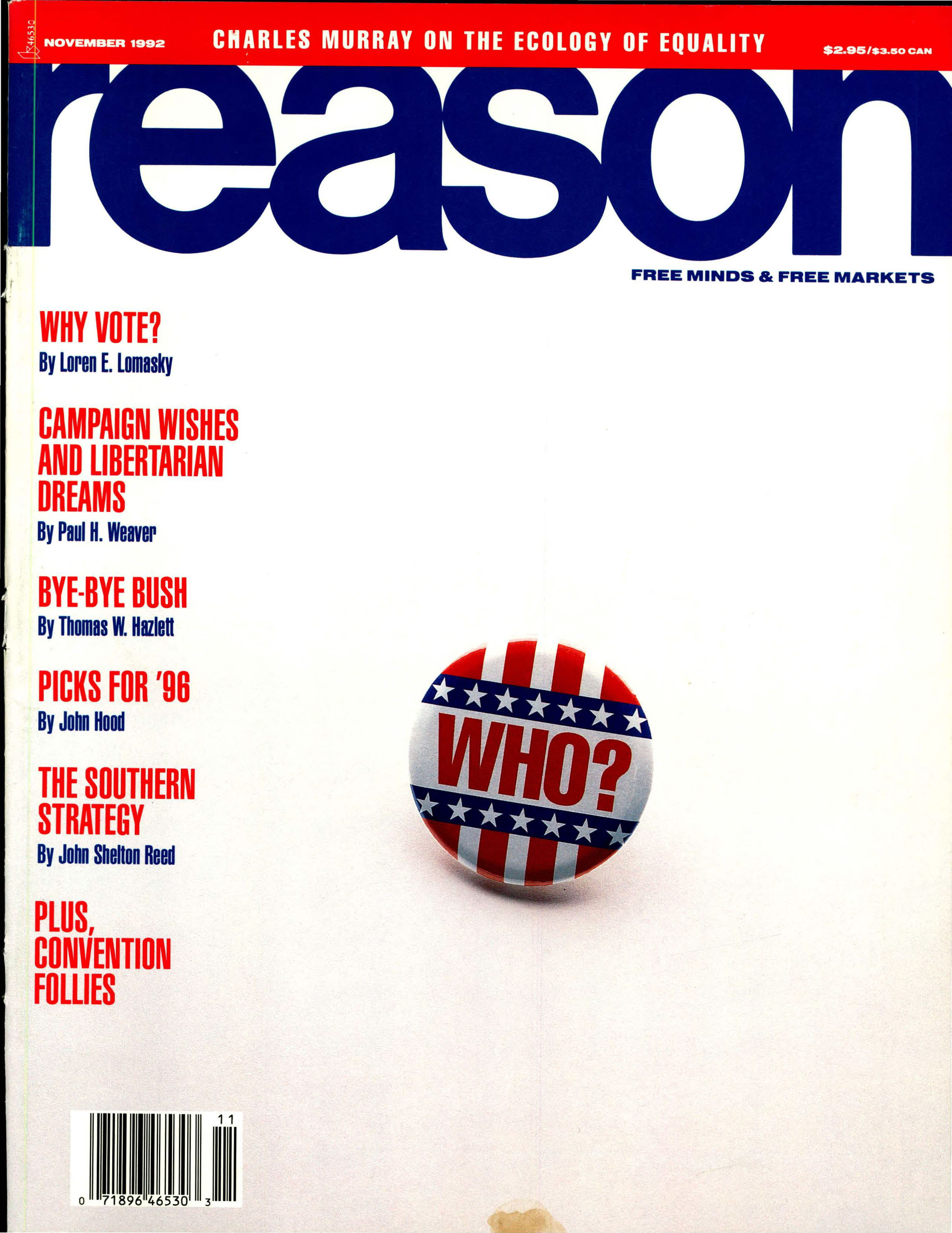 Reason Magazine, November 1992 cover image