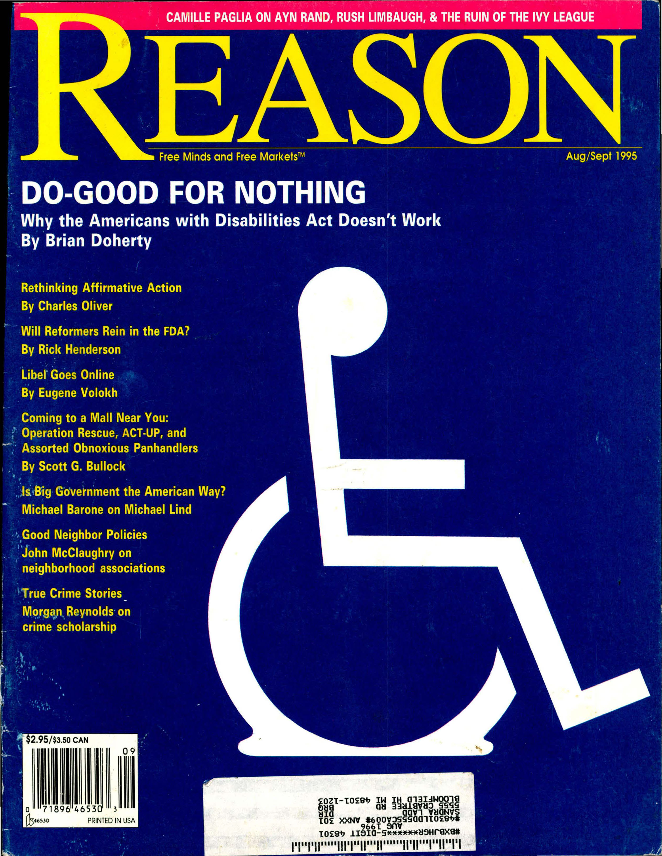 Reason Magazine, August/September 1995 cover image