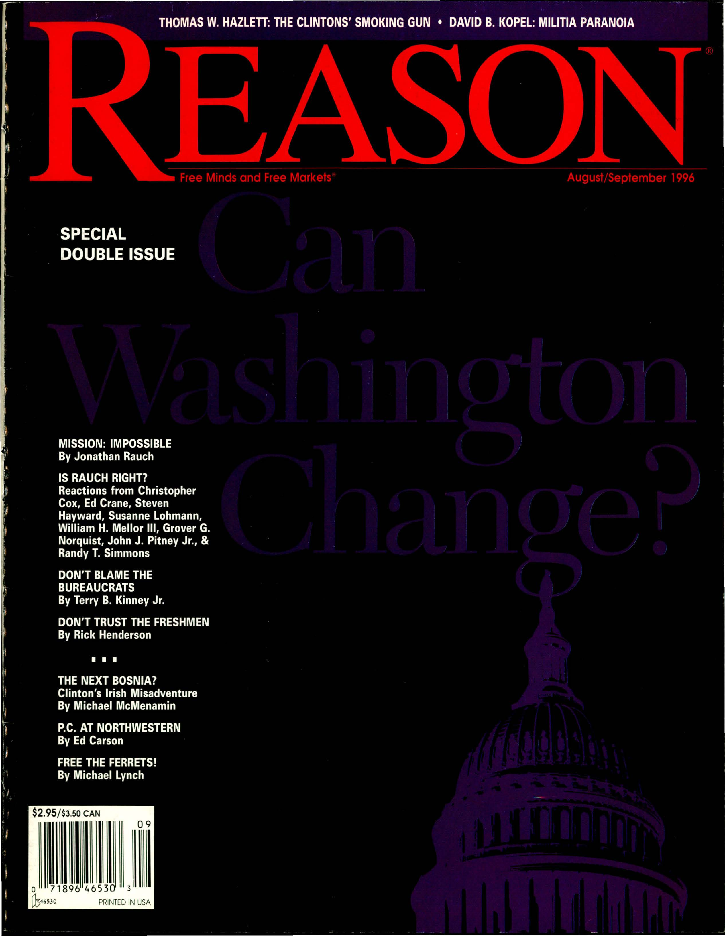 Reason Magazine, August/September 1996 cover image