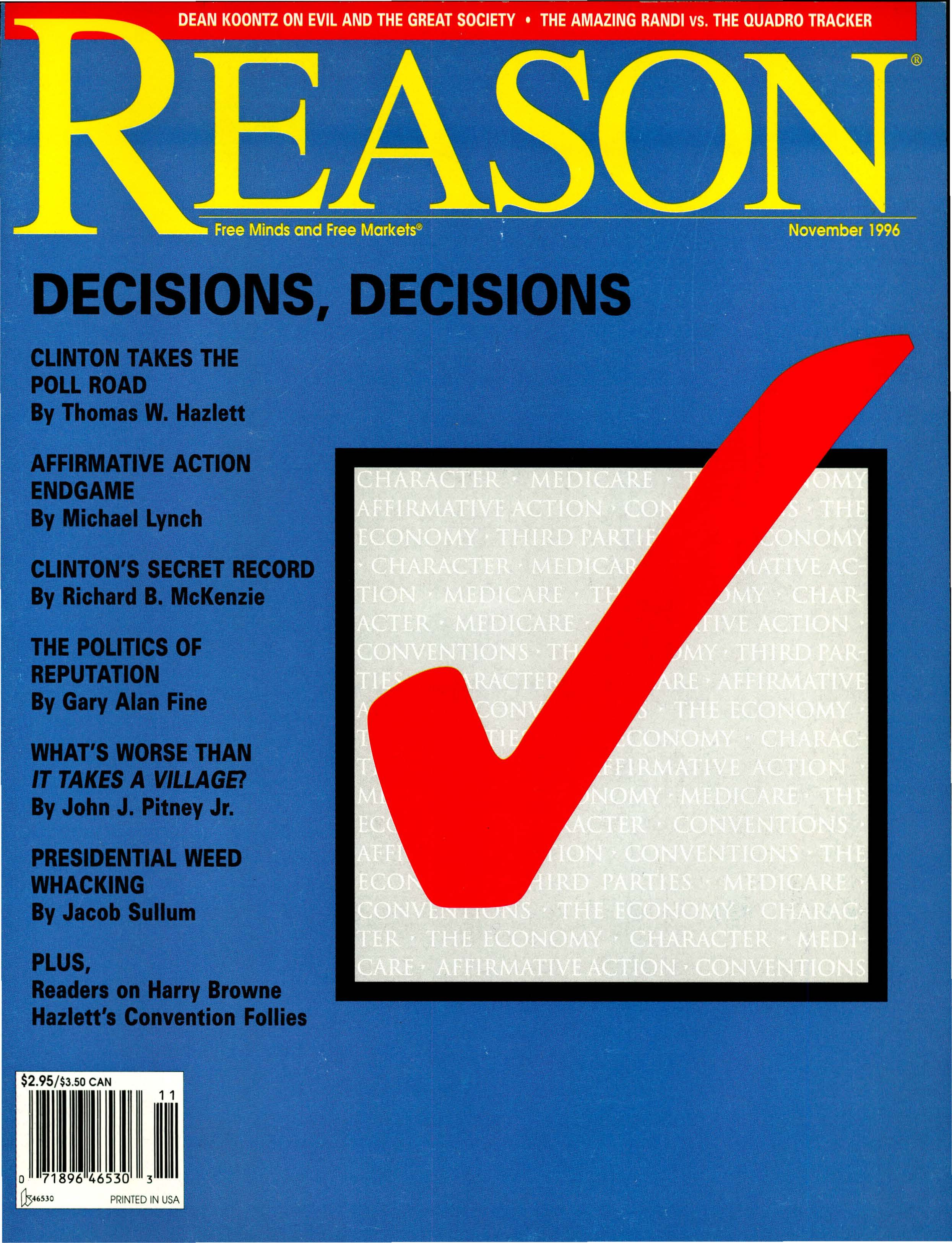 Reason Magazine, November 1996 cover image